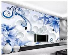 Custom 3D Wallpapers Living Room Modern Blue Flower Decorative Style TV Background Wall papel de parede photo wallpaper