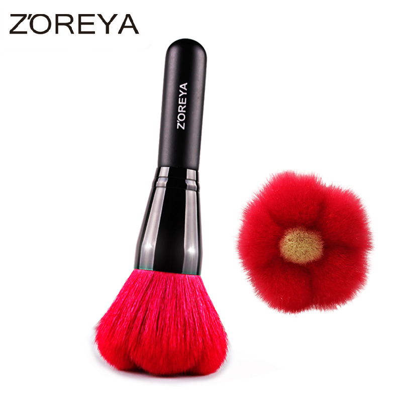 Zoreya Brand Hot sales red flower thick soft Natural Goat hair make up brush women Makeup Powder brush for Cosmetic tool