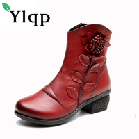 Ylqp New Winter Women Boots Folk Style Thick Retro Genuine Leather Shoes Vintage Floral Warm Boots