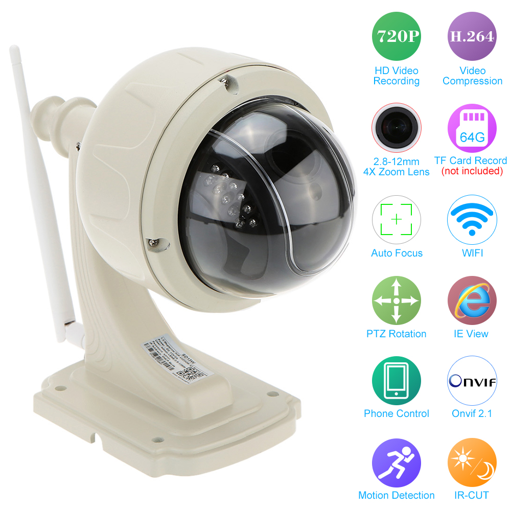 KKMOON H.264 HD 720P Wireless WiFi IP Camera Outdoor 2.8-12mm Auto-focus PTZ Waterproof CCTV Security Camera Wifi Night Vision otomatik çadır