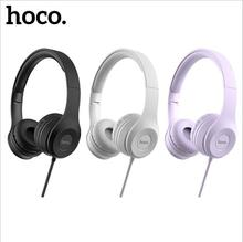 HOCO W21 HIFI Stereo Metal Wired Headphone Foldable Headset FM and Over-ear Adjustable With Mic for Smart phone for mobile hoco universal bluetooth on ear hifi stereo headphone wired wireless nosie reduction headset earphone for phone pc laptop new