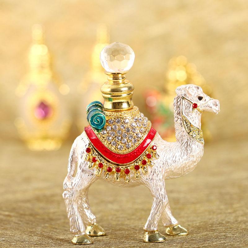 H & D Crystal Camel Figur Collectible Perfume Bottle Tomma Refillable - Hudvårdsverktyg