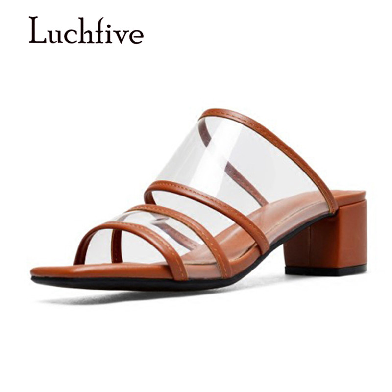 f25760298fec5 Shoes Gladiator Heel Brown Chunky Woman Open Shoes White Toe Fashion Pvc  2018 Woman Sandals Transparent ...