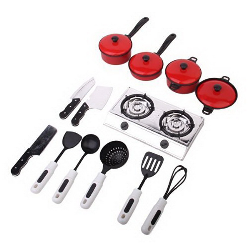 13pcs plastic simulation kitchen cook ware set kids toy for Kitchen stove set