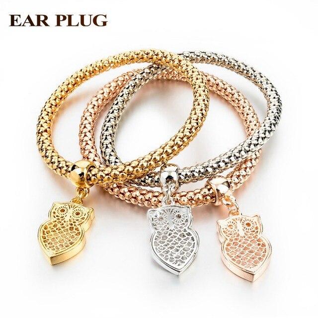 c096bbf055d5 Promoción elástico pulseras y brazaletes moda oro verdadero pulseras de  dijes de plata para mujer linda