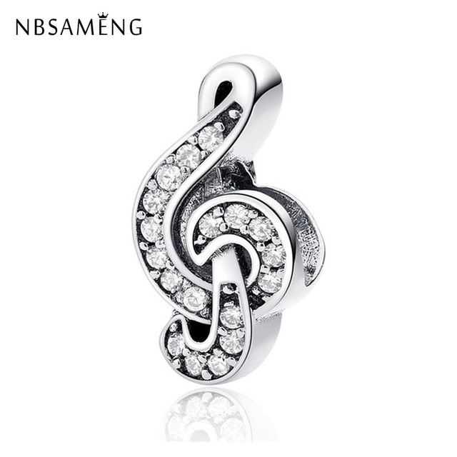 Authentic 100% 925 Sterling Silver Beads Charm Sweet Music Treble Clef Charms Crystal Fit Pandora Bracelets Women DIY Jewelry