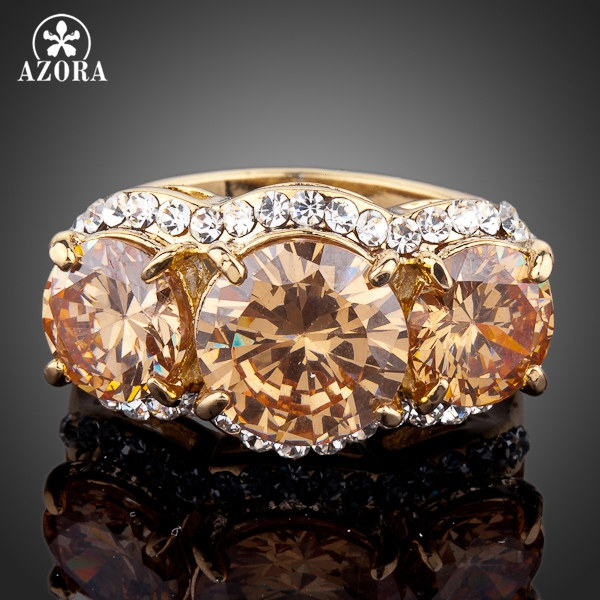 AZORA vahuveini värv 3pcs Gold Color Stellux Austria Crystal Ring TR0081