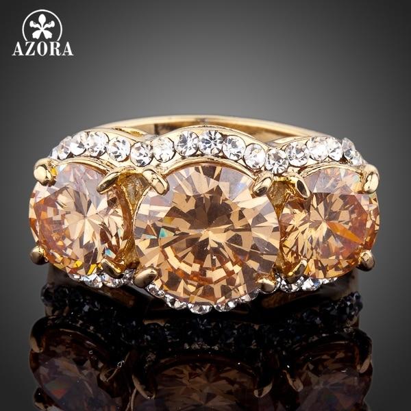 AZORA Sparkling Gold Color 3pcs Gold Colour Stellux Austrian Crystal Ring TR0081