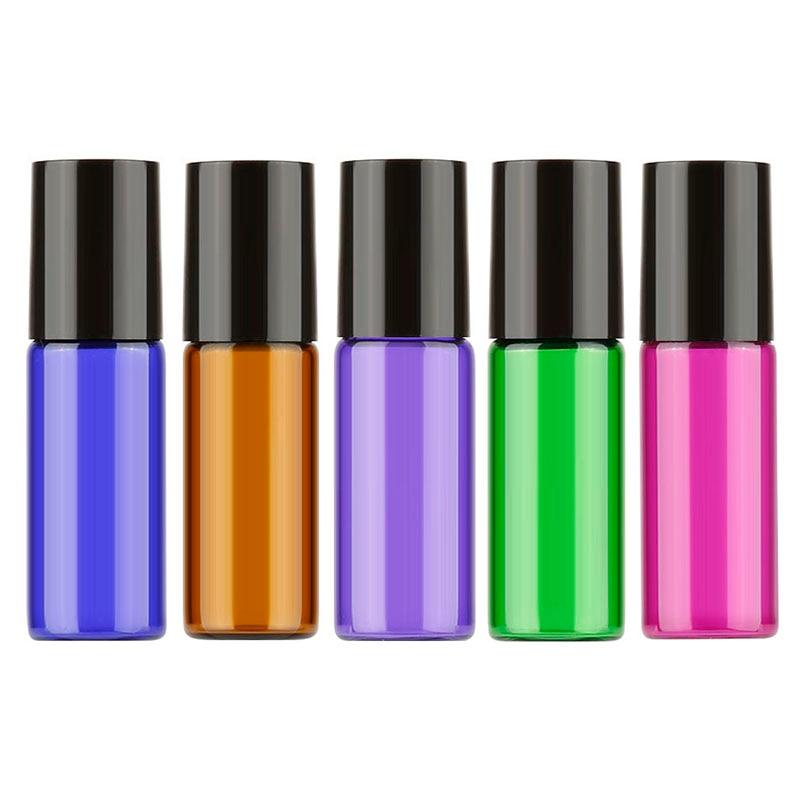 MAANGE 10pcs 5ml Travel Portable Empty Glass Roll On Bottle Essential Oil Perfume Fragrance Pot Refillable Not Leak Mini Size
