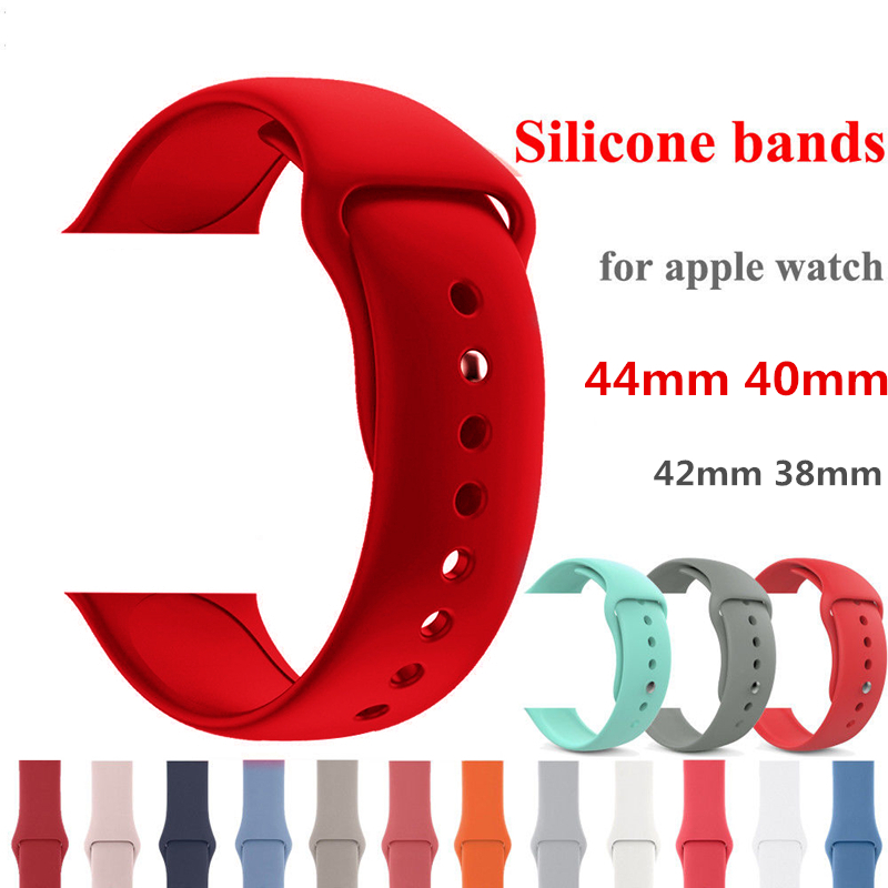 все цены на Soft Silocone Sport Band For Apple Watch bands Series 4 44mm 40mm Wrist Bracelet Strap for iwatch 3/2/1 belt 42mm 38mm watchband онлайн