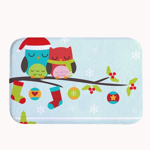 Cute Christmas Owls Bath Mat Coral Fleece Area Rug Door Mat Entrance Rug  Floor Mats For