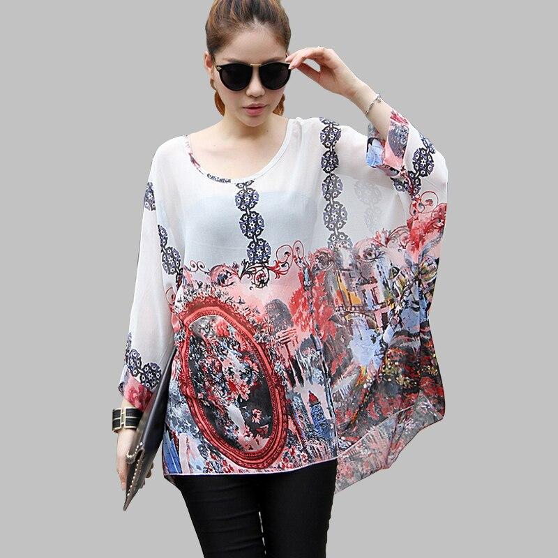 Vestidos Summer Dress 2018 Ladies Floral Print Casual Chiffon Dress Batwing  Sleeve Bohemian Dresses Plus Size Women Clothing 6XL
