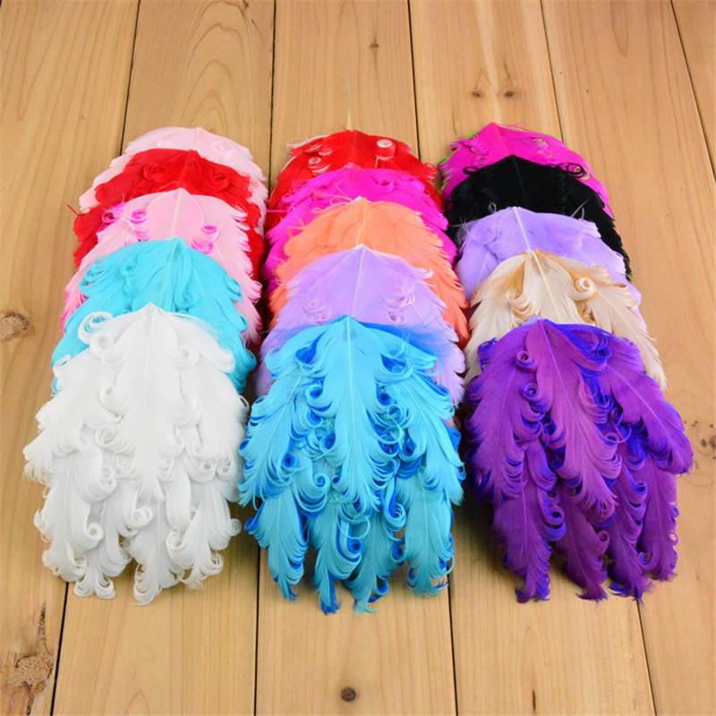 100pcs/lot 24 Color U Pick 4 Inch Nagorie Curly Goose Feather Pads Applique Wedding Decoration Supplies Hair Accessories Th17 For Fast Shipping