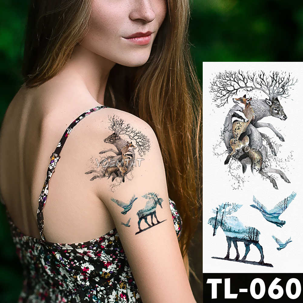 Temporária Etiqueta Do Tatuagem de Transferência de água de Flor em torno de tigre azul Floresta Padrão lobo À Prova D' Água Falso Tattoo Flash para mulheres dos homens