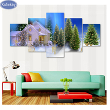 5pcs/set,5d diy Diamond Painting The Christmas Tree/snow/house/Pattern full diamond Embroidery,Cross Stitch kits,roll packed