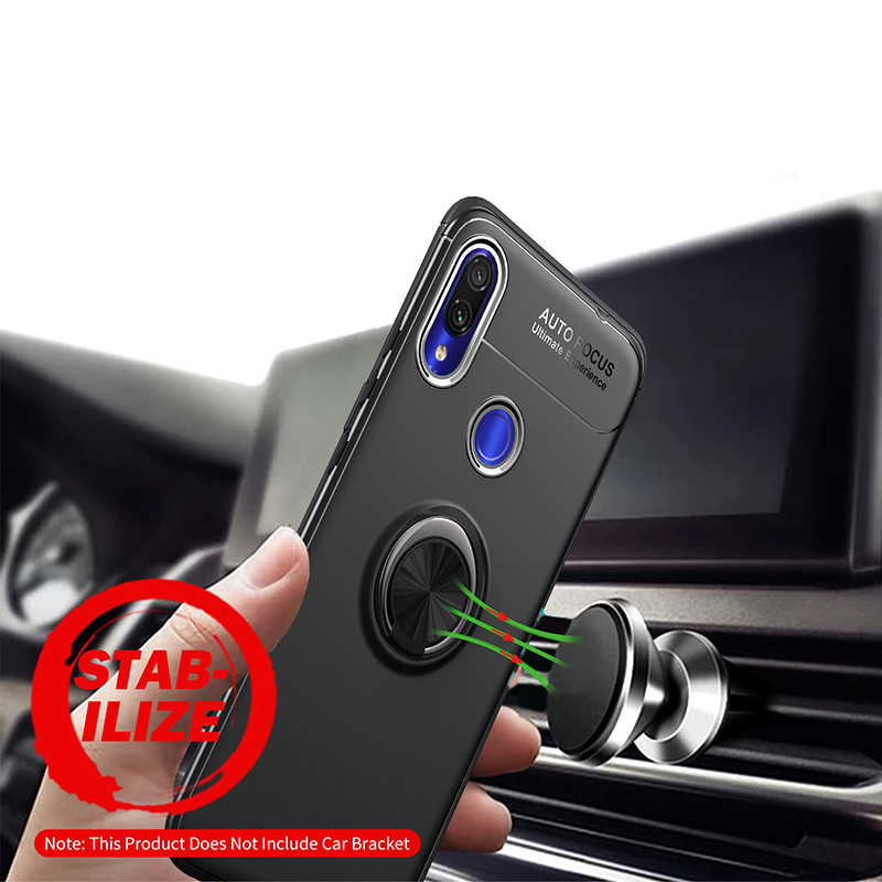 Finger Ring Stand Car Holder Case for Xiaomi Redmi Note 7 Case Redmi Note 7 Pro Cover Silicone Case Redmi 7 Global Version Cases in Half wrapped Cases from Cellphones Telecommunications