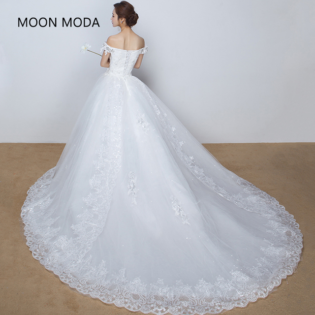 ball gown wedding dress with cathedral train with bling luxury 2018 ...