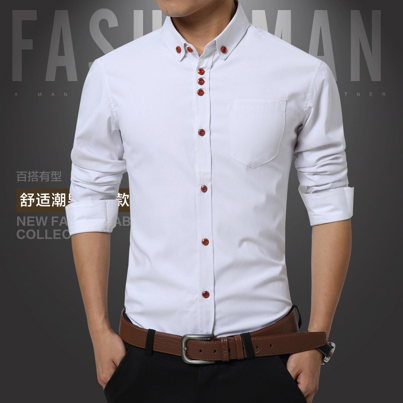 Buy new long sleeve slim men shirt 2016 Buy white dress shirt
