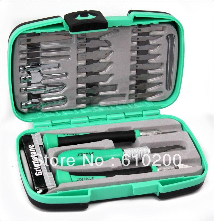Livraison gratuite PD-395A Proskit couteau multifonctionnel outils de travail du bois ensemble pour outils de sculpture outils de sculpture sur bois le kit de couteau