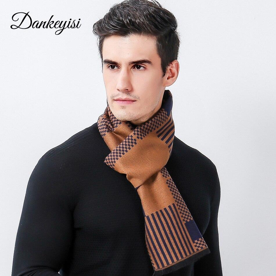 Dankeyisi Fashion Plaid Blanket Scarf Men Long Thick Triangle Sweater Anak Laki Rbj347 Merek Pria Syal Mewah Designer Mode Bisnis Hangat Lembut Shawl