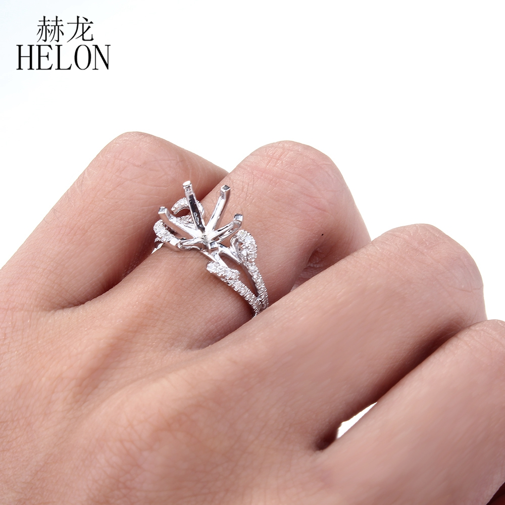 HELON Recommend ! Solid 14K White Gold 9MM Round Cut Semi Mount ...