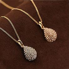 Elegant Necklace Women Girl Shiny Rhinestone Teardrop Necklace Gold Silver Color Wedding Pendant Bridal Jewelry New Year Gifts