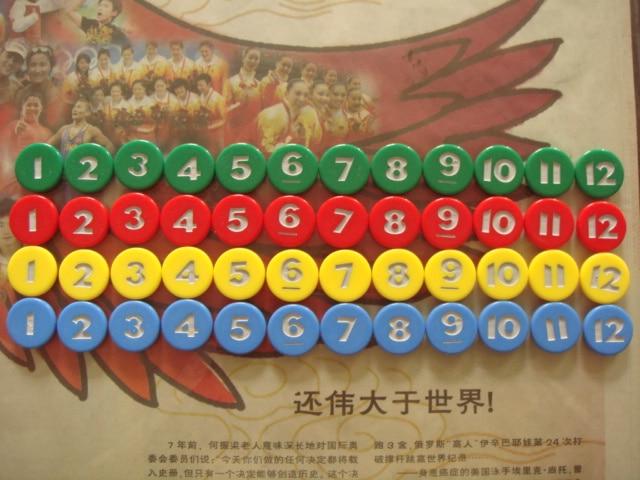 (48 чипова) 4 боје * 1-12 дигиталних чипова, едукативне играчке за децу, учење потребних материјала