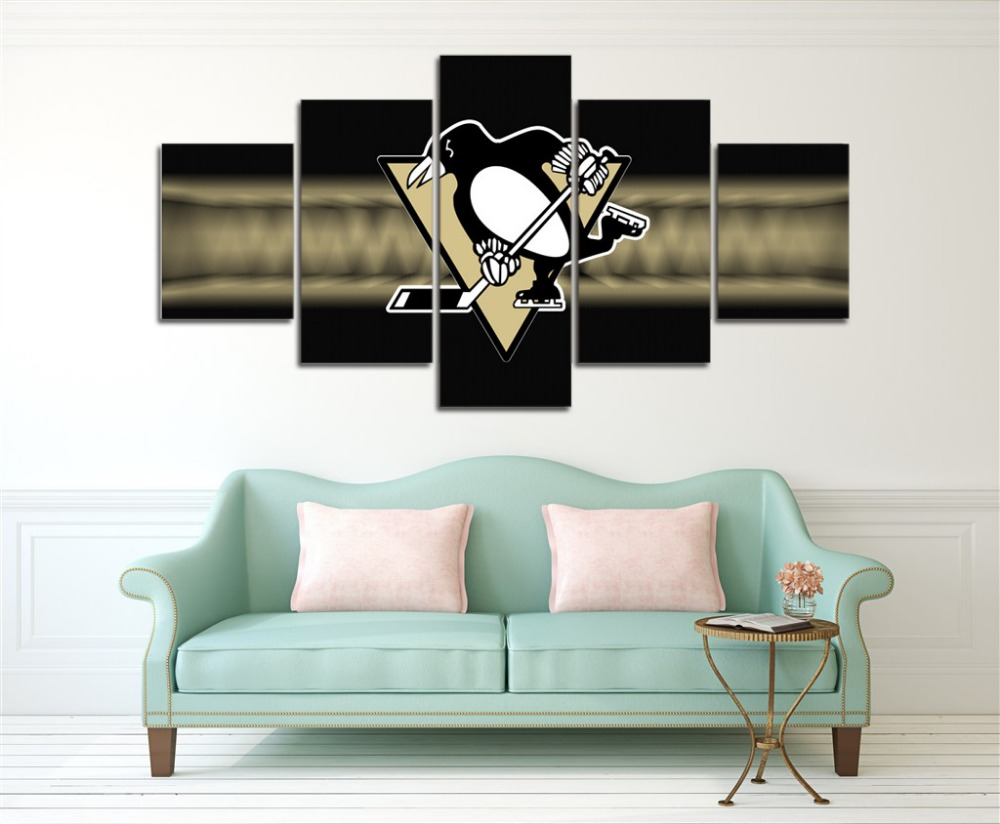 5 Panel Pittsburgh Penguins Modern Home Wall Decor Painting Canvas Art Hd Print Painting Canvas Wall