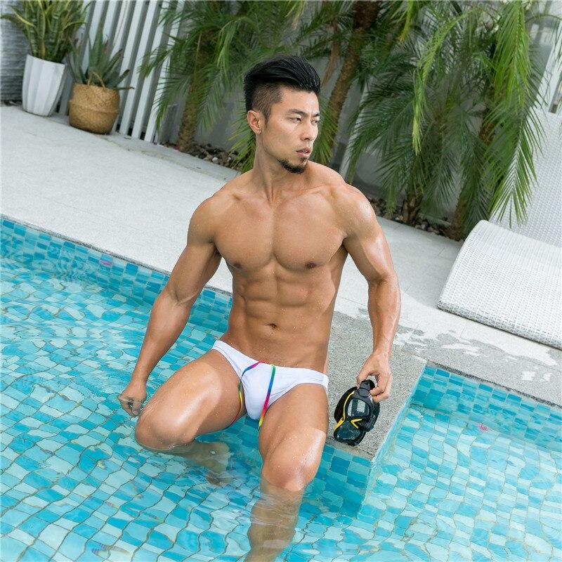Men's summer swimming trunks swimsuit low waist bikini low waist swim shorts sexy swimwear triangular briefs hot sell padded low waist briefs