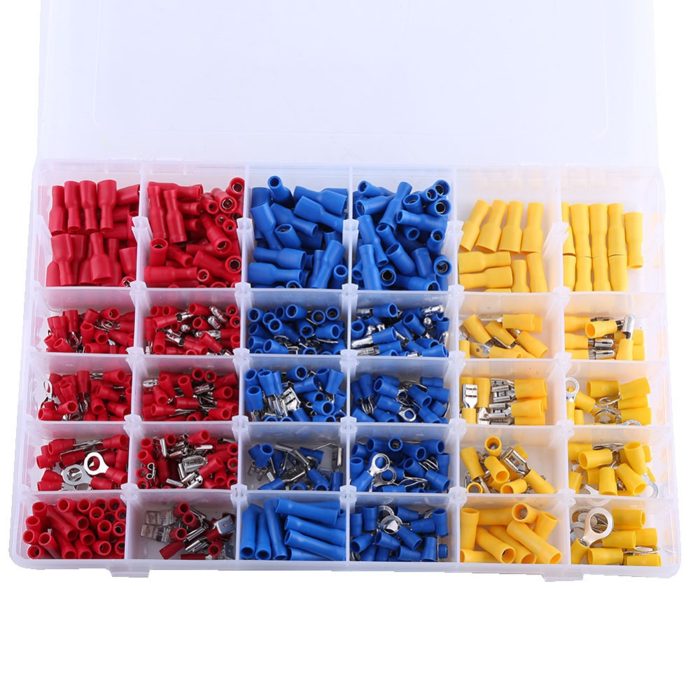 Assorted Insulated Electrical Wire Terminals Crimp Connectors Spade Set 720PC BE