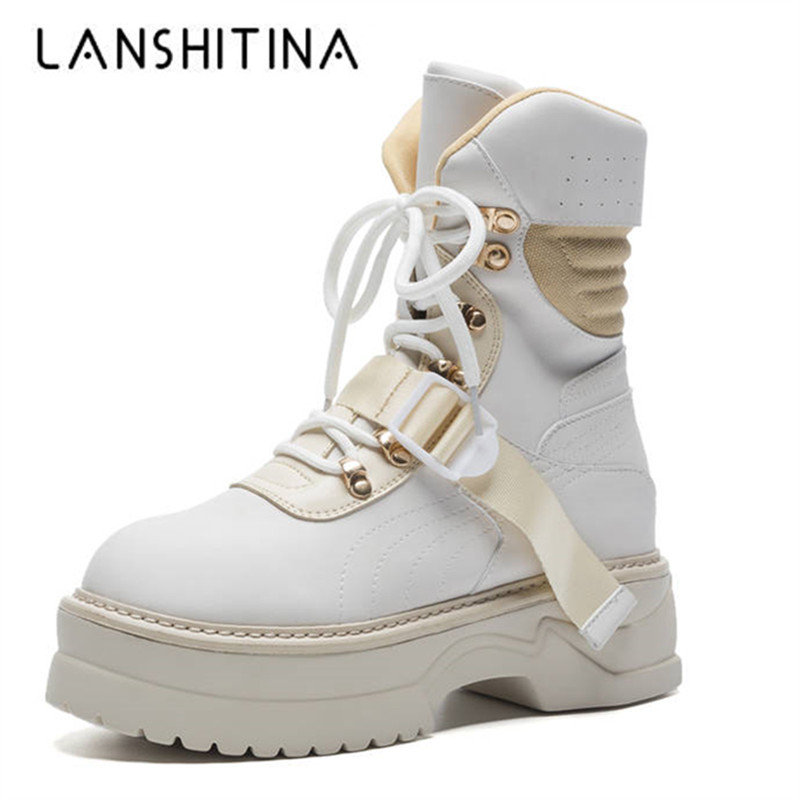 цена на 2018 New Genuine Leather Ankle Boots For Women Lace up Platform Winter High Top Boots Fashion Punk Martin boots Flat Shoes Woman