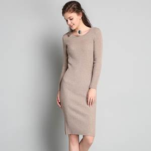 Ansper Winter Woman 2018 Knit Bodycon Dress Midi Black f9f63e4c3342