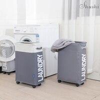 SHUSHI heavy duty collapsible Laundry Basket & bag oxford slim laundry roller organizer bag Home simple foldable Laundry hamper