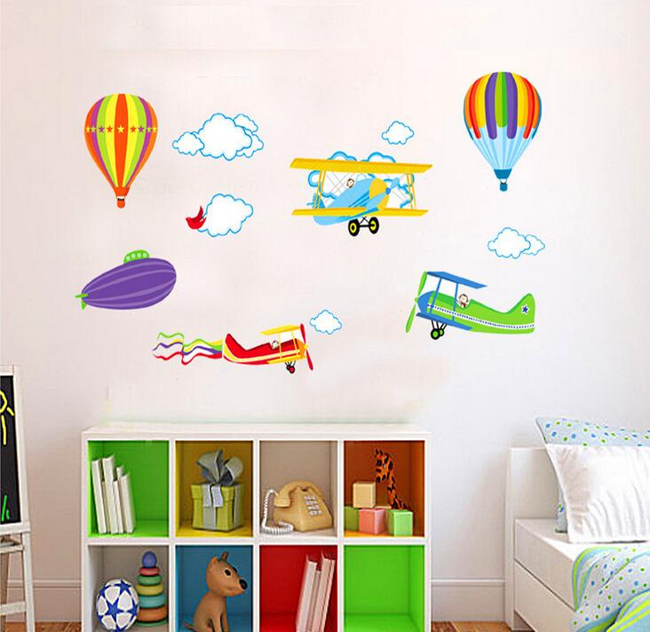 Cartoon Airplane Hot Air Balloons Wall Stickers Kids Rooms Bedroom Adesivo De Parede Diy Removable Window