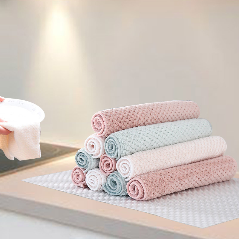 5PCS/Set Household Kitchen Towel Absorbent Thicker Double-layer Microfiber Wipe Table Kitchen Towels Cleaning Dish Washing Cloth(China)