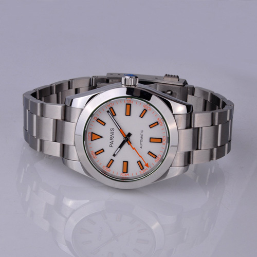 Free shipping 40mm Parnis White Dial Milgauss Style Automatic Men Watch PA4002SW