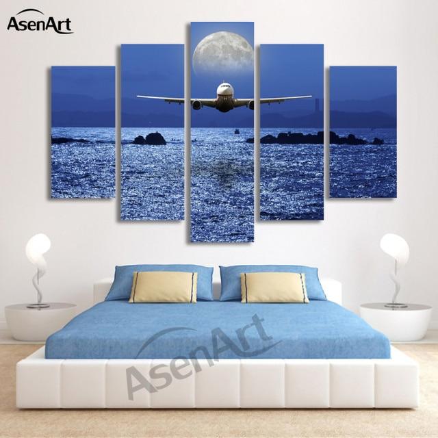 5 Steuerung Seascape Malerei Flugzeug Mond Bild Wandkunst