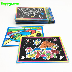 Happyxuan 20 stücke 2-in-1 Magie Farbe Scratch Kunst Papier Karten Malerei Färbung für Kinder Kreative Zeichnung spielzeug Set Pädagogisches