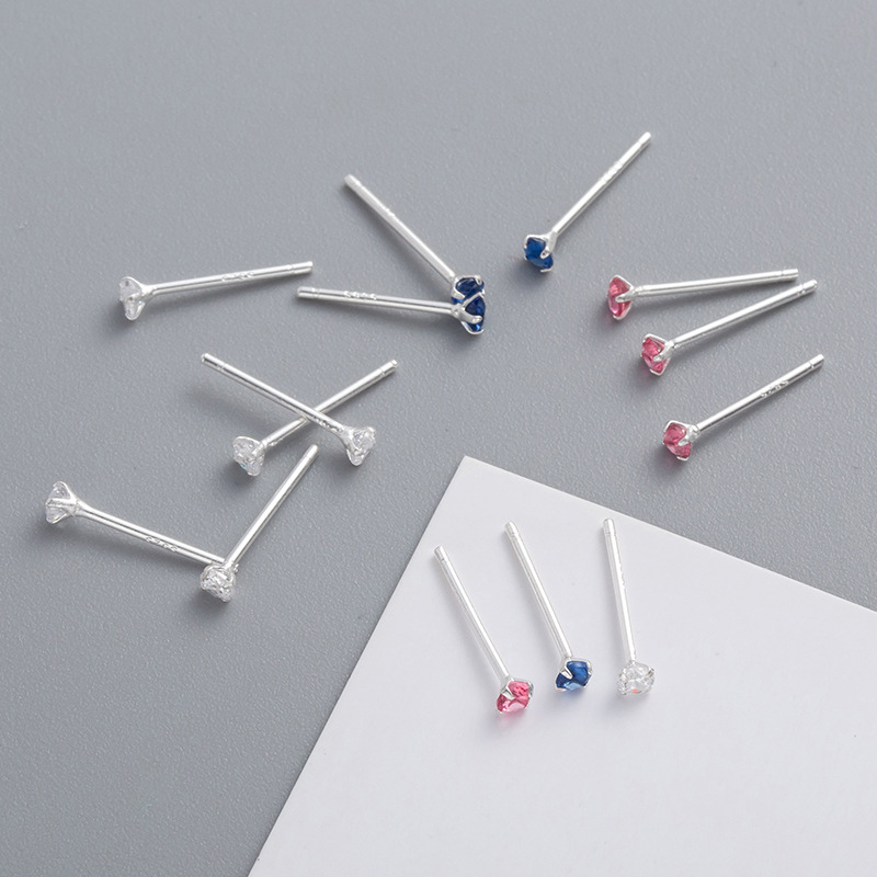 S925 Sterling Silvery Mini Super Small Rhinestone Colour Ear Studs Simplicity Temperament Lovely Female Z9347