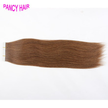 Straight Tape In Hair Extension Brazilian Human Virgin,19 Color #4 medium brown,PU Skin Weft Remover Glue fast free shipping