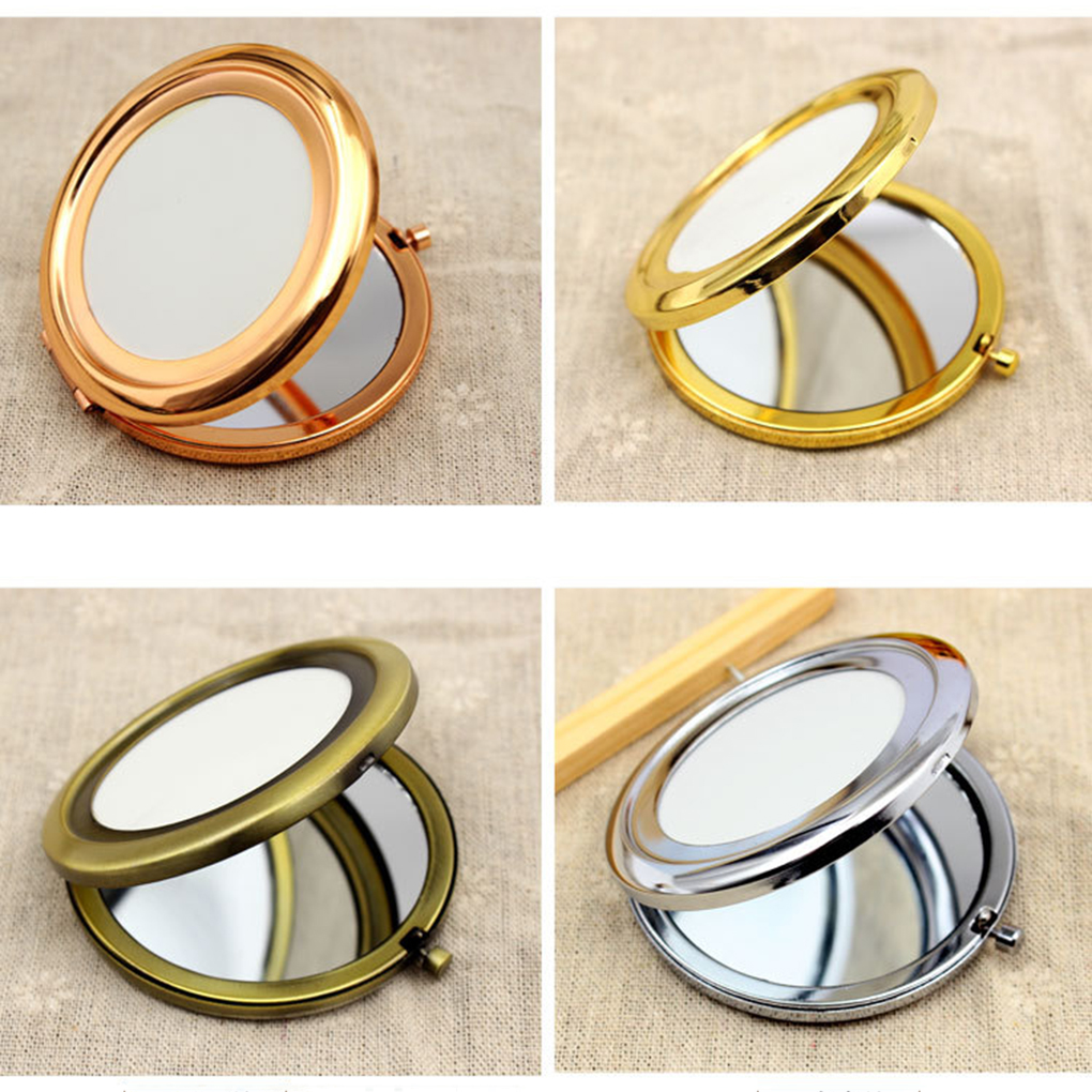 New DIY Foldable Transparent Surface Makeup Mirrors Portable Double Metal Cosmetic Mirror