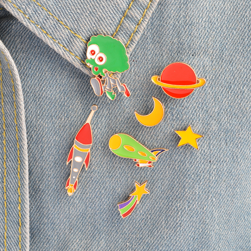 8pcs/set Star Moon Alien Telescope <font><b>Meteor</b></font> <font><b>Rocket</b></font> Brooch Pins Button Bag T-shirt Jacket Collar Lapel Badge Astronomy Jewelry