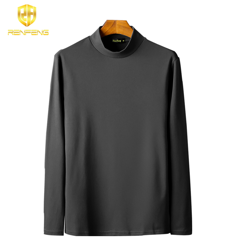 Pack of 5 Men's Cotton Undershirts Man Underwear Long leeved Undershirt Winter High Neck Shirts Spandex Thermal Solid T Shirts (2)