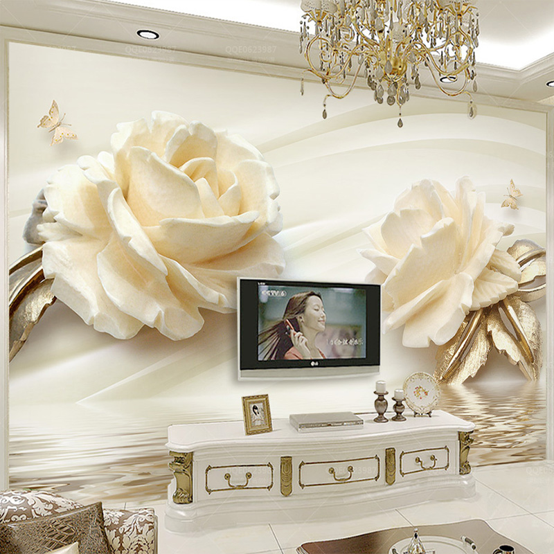 Custom Photo Wallpaper 3D Champagne Rose Water Wave Reflection Mural Wedding Room Bedroom Living Room Non-woven Print Wallpaper