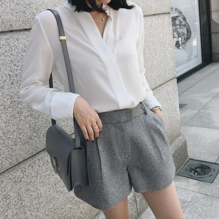 2018 été nouvelle mode manches pleines chemise solide décontracté col en v blanc femmes chemises femmes OL dames chemisiers en mousseline de soie