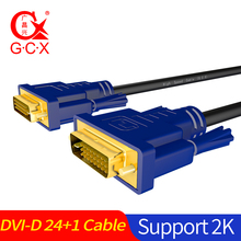 GCX 2K DVI Cable 24+1 Dual Link Male to Male Gold Plated DVI-D Cable for TV Laptop Projector Monitor 1.5m 3m 5m 10m 15m 20m 2017 universal lcd digital monitor dvi d to dvi d gold male 24 1 pin dual link tv cable for tft pc computer black hot sale dec27