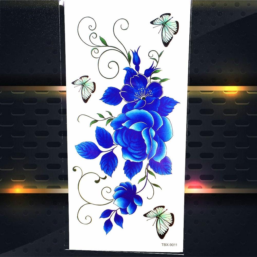 Butterfly Rose Waterproof Temporay Tattoo Sticker Women Henna