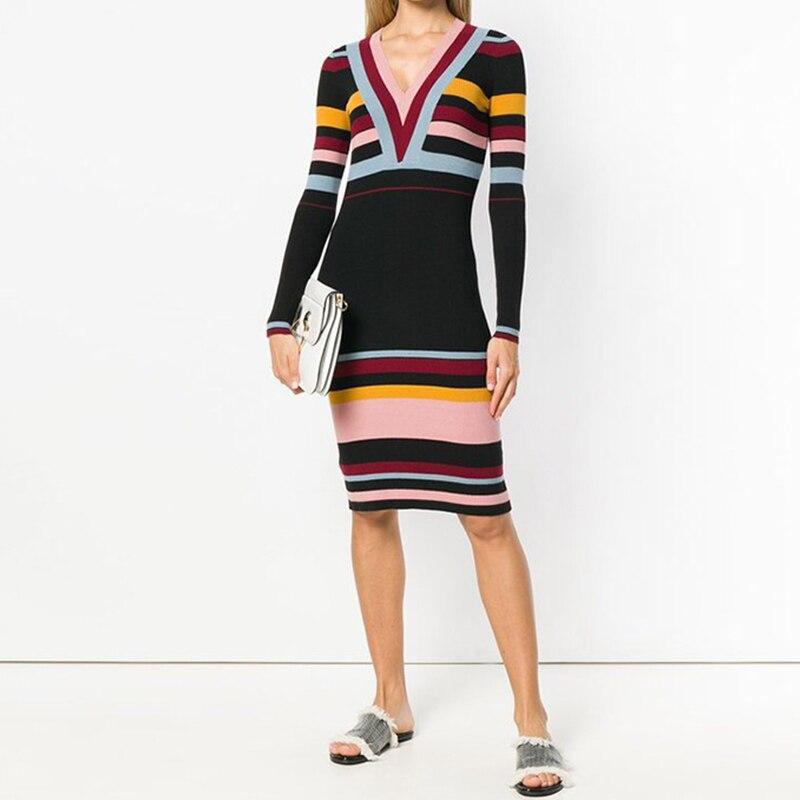 Ladies Contrast Color Striped Sweater Dress 2018 Winter Deep V Neck Slim Bodycon Dress Knee-Length Long Sleeve Dress Tight Fall