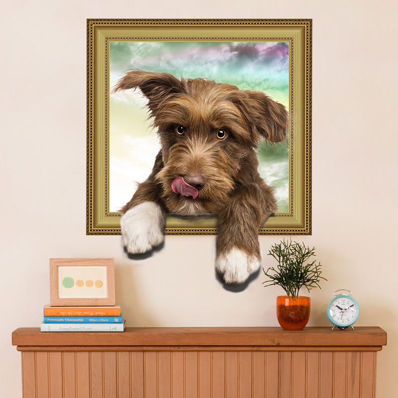 3D wallpaper simulation cute dog fake photo frame boy girl room Wall stickers bedroom living room decorative murals 3d wallpaper oversized photo frame tree cartoon kids room decorative wall stickers living room bedroom tv background room murals