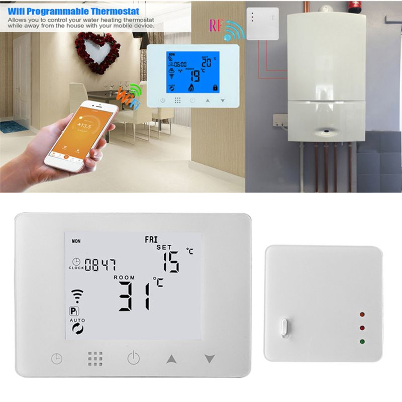 WiFi & RF Wireless Room Thermostat Wall-hung Gas Boiler Heating Remote Control Temperature Controller Weekly Programmable wireless programmable room heating thermostat for electric heating panel radiator actuator gas boiler digital temperature screen